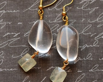 Rock Quartz Nugget Earrings, Prehnite Earrings, Energy Crystal Quartz Earrings, Healing Jewelry, Boho Handmade Earrings, Gold Earrings SRAJD