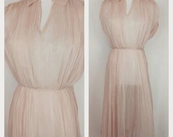 Vintage 1940's Henry Rosenfeld Blush Pink Chiffon Sheer Pleated Dress