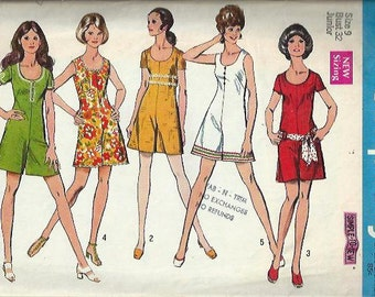 VTG 1970 Junior Mini-Pantdress Pattern, Simple-To-Sew Simplicity 8785, Size 9