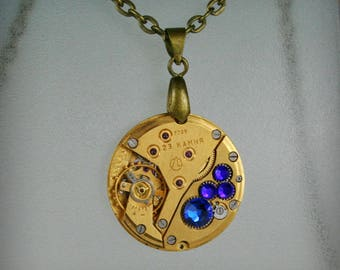 Gold Watch movement  Steampunk   Pendant with Capri Blue Swarovski Crystal  ,  Steampunk Jewelry , Clockwork Watch Movement Pendant