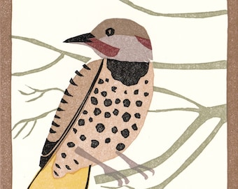 "Flicker greeting card, 7 color linocut, 4"" X 5"""