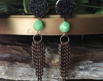 Brass Chain Tassle, Black and Jade Dangle Plugs, gauges   8g, 6g, 4g, 2g, 0g, 00g, 7/16, 1/2, 9/16