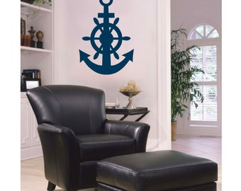 Anchor & Helm Nautical Boat Steering Wheel Vinyl Wall Decal S-111