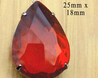 Red Glass Pendant - 25x18 Teardrop - Sheer - Rhinestone Pendant - 25mm x 18mm - Glass Jewel - Brass or Silver Setting - Glass Gem
