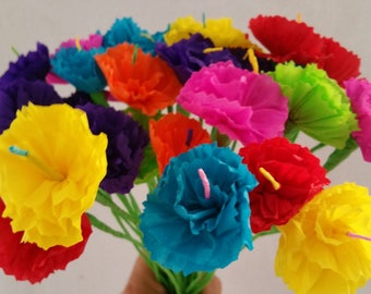 Cinco de Mayo, 10 Paper Flowers, Mexican Flowers, Crepe Paper Flowers, Wedding Decorations, Party Decor, Altar Flowers, Day of the Dead