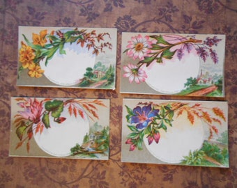 4 Pretty Floral Blank Victorian Note Calling Cards