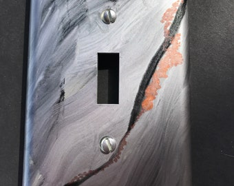 Silver Black Rust Handpainted Inks - Switch Plate