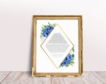 Blue Hydrangea Rhombus Ketubah