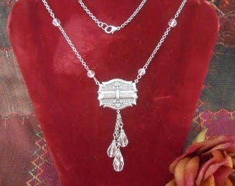 Antique Silver Vintage Style Crystal Cascade Necklace
