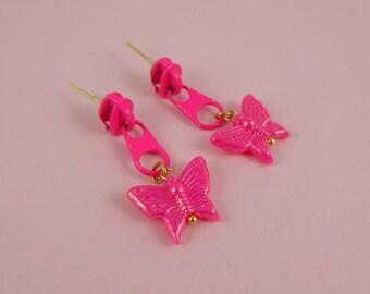 Pink Zip Earrings, Pink Butterfly Earrings - neon pink zips, zipper earrings, upcycled earrings, Harajuku Decora, Fairy-Kei, kitsch kawaii
