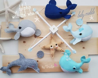 Whale Baby Mobile - Crib Mobile - Dolphin Mobile - Boy Mobile - Hanging Mobile - Sea Creatures Mobile - Ocean Mobile