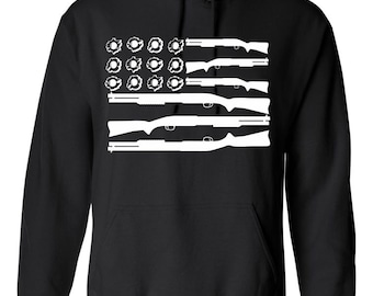 On Sale - Gun and Bullet Hole American Flag... Hoodie