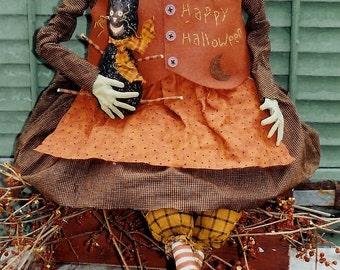 The Country Cupboard Ezmerelda the Witch Folk Art Primitive Craft Sewing Pattern Halloween Decor