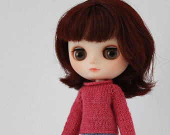 Middie Blythe doll Ren Sweater knitting PATTERN - long sleeve cardigan & reverse - instant download - permission to sell finished items