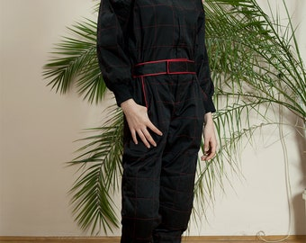 90s overall•Vintage clothing•Vintage jumpsuit•90s Overall• Long jumpsuit•Vintage coverall•80s Work clothes•Black coverall•Womens coverall