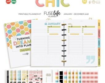 2018 A5 + Half Letter modern + vintage style Printable Planner Kit : FUSElife Chic > pdf printables inc png print + cut files (jes0557)