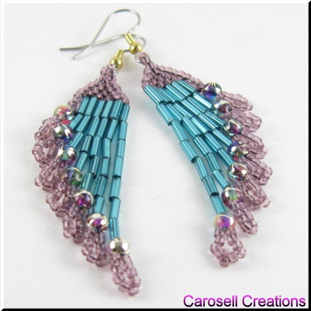 Beadwork Chandelier Seed Bead Earrings In Teal And Purple
