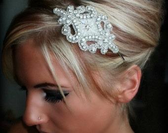 Rhinestone Bridal Headband, Wedding Headpiece, Ribbon, Crystal, Accessories, Bridal, Wedding, Hair Accessory