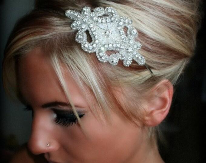 Rhinestone Headband, GENNA, wedding headpiece, ribbon, bridal accessories, bridal, wedding, hair accessory