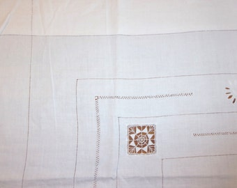 Vintage linen sheet with manual days and monogram embroidered, dyed in color, origin France