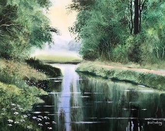 Landscape watercolours, original paintings, river paintings, green river, reflections, wet in wet painting, watercolour paintings, rivers