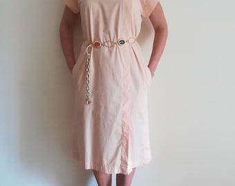 OVERSIZED MIDI DRESS Vintage 80  T-Shirt Midi Dress Pastel Peach Cotton Dress Side-Pleat Dress sz. S
