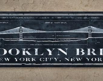 Vintage golden gate bridge metal blueprint 48x14 free brooklyn bridge metal blueprint 24x7 free shipping malvernweather Gallery