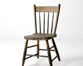 Primitive Chair, Antique Spindle Back Chair, Rustic Windsor Chair