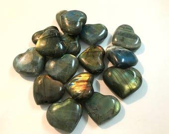 "1 Small Labradorite Heart with Flash - 1.25"" size - Beautiful Labradorite from Madagascar! Chakra, Reiki, Healing"