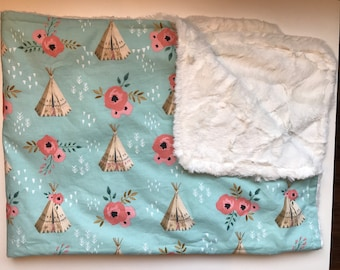 FREE SHIPPING * Newborn Baby Girl Cotton Minky Snuggle Blanket Blue Teepees and Flowers