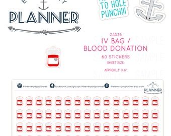 IV Bag/Blood Donation/Transfusion Sticker|  60  Kiss-Cut Stickers | CA36 |