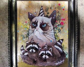 grumpy cat party - cat art, original painting, raccoon drawing, animal art, art by phresha, cat painting, grumpy cat art, racoon art
