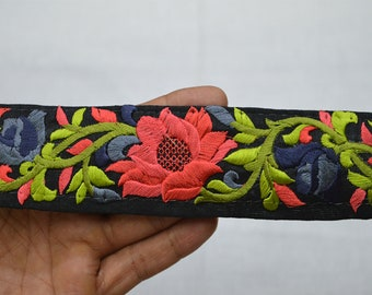 Coral Saree Embroidered Decorative Trims, Sari Border, Sewing Indian Fabric Trim, Costume Trimmings, Crafting  Trim By 2 Yard, Fashion tape