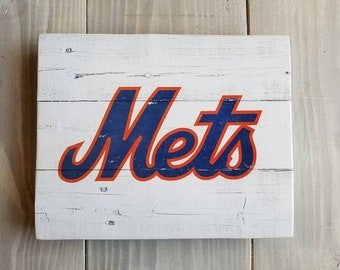 New York Mets Handmade Sign, NY Mets Vintage Look Reclaimed Wood Sign, Wall Sign - Mets Gift, Gift for Men, Boyfriend