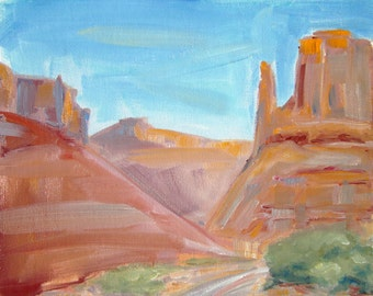 """Arches National Park, Utah, USA, Original Oil Painting by puci, 8x10"""""""