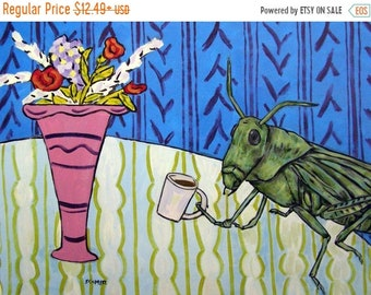 Grasshopper at the cafe coffee shop insect art print signed modern