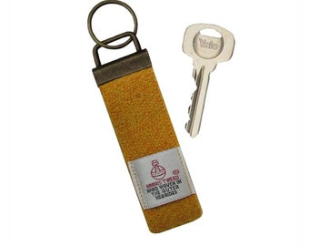 Harris Tweed Mustard Wool Keyring On Chunky Metal Key Fob