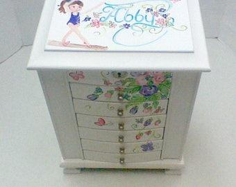 extra Large white jewelry,personalized jewelry box,purple,pink,aqua,flowers,hummingbird,girls jewelry box,jewelry box,butterflies,gymnast