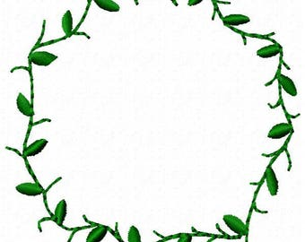 Branch with Leaves Wreath Embroidery Design - Instant Download