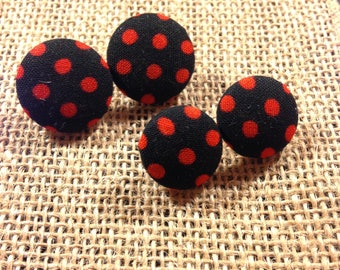 Red Polka Dots - Fabric Button Earrings