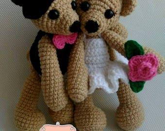 Bride and groom teddy bears, anti-allergic, amigurumi, crochet