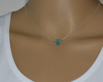 Sterling silver floating  sea glass necklace, Bridal Necklace, Bridesmaid Suspended aqua sea glass necklace, single beach glass necklace