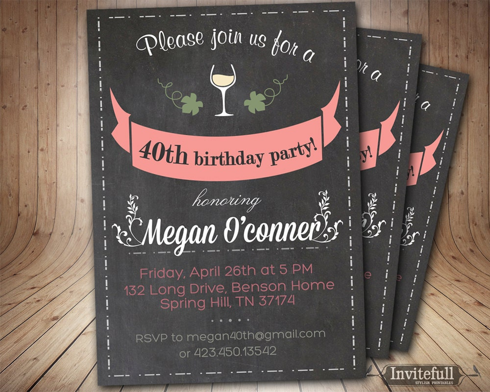 40th Birthday Invitation Adult Birthday invitation on
