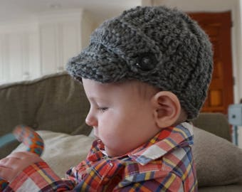 Crochet Newsboy Cap. Heather Grey Cap