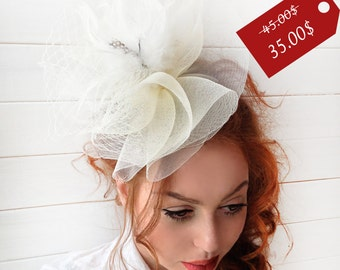 SALE25% Ivory Fascinator - Couture British Hat Fascinator Headband with Feathers - Tea Party Hat -  Kentucky Derby Hat - Fascinator Hat
