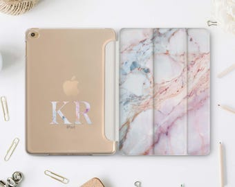 Marble Monogram iPad Case Mini 2 Custom iPad Air Case Personalized iPad 10.5 Case Smart Cover Custom Case Marble iPad Case Mini 2 1 WA4106