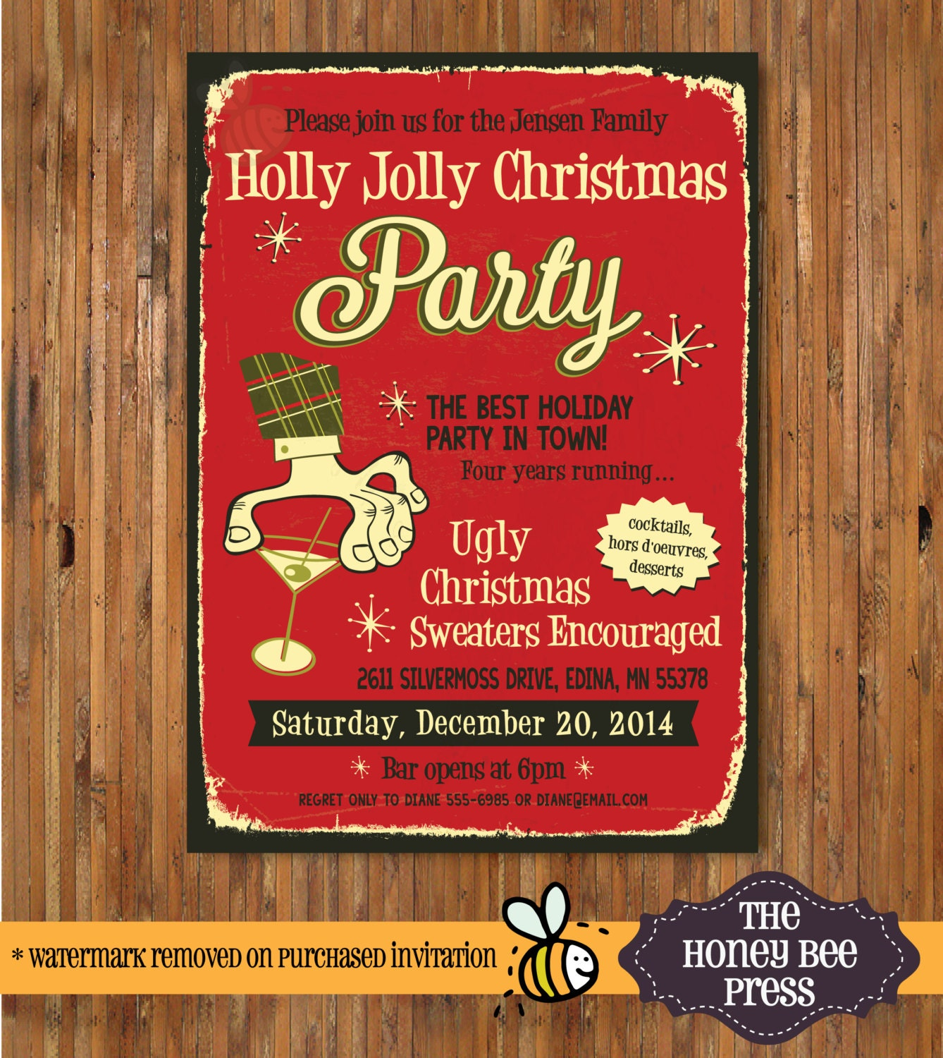 Ugly Sweater Holiday Party Invitation Retro Christmas