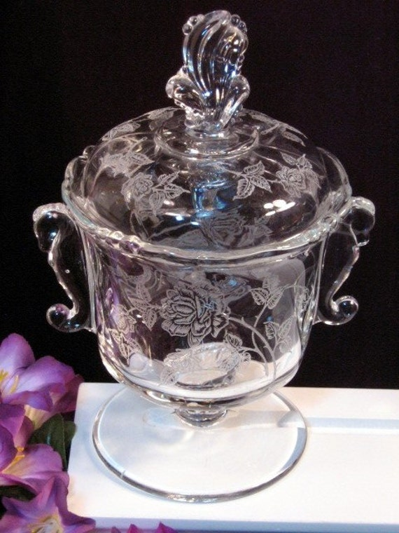 Vintage Heisey Glass Rose Crystal Seahorse Candy Dish 1940s