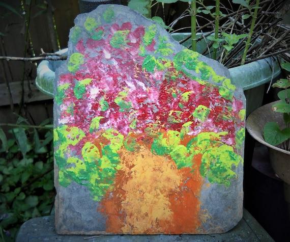 Hand Painted Still Life on Slate, CRIMSON By Award Winning Folk Artist Stacey Torres - art acrylic slate shingle potted flowers