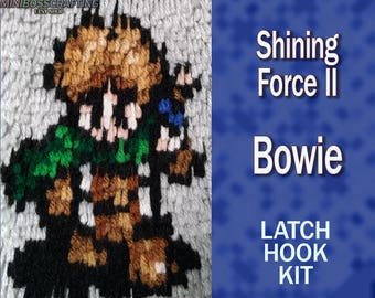 Bowie - Shining Force 2 - DIY Latch Hook Rug Kit 5.5 by 6 Inches or 11 by 12 inches